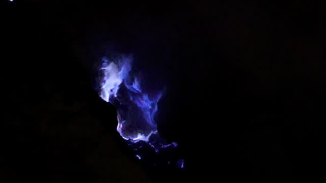 burning sulfur on kawah ijen - mineral stock videos & royalty-free footage