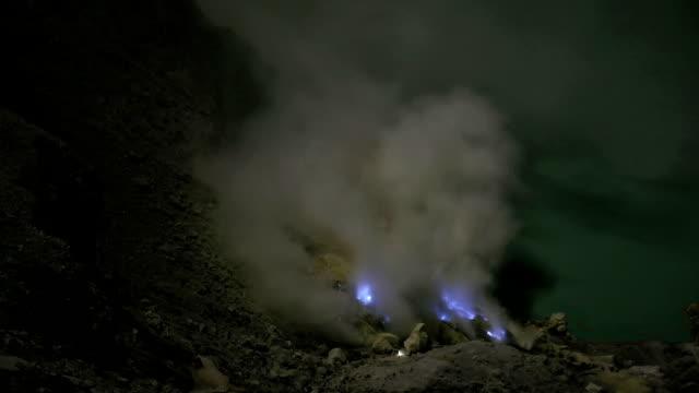 Burning Sulfur on Kawah Ijen