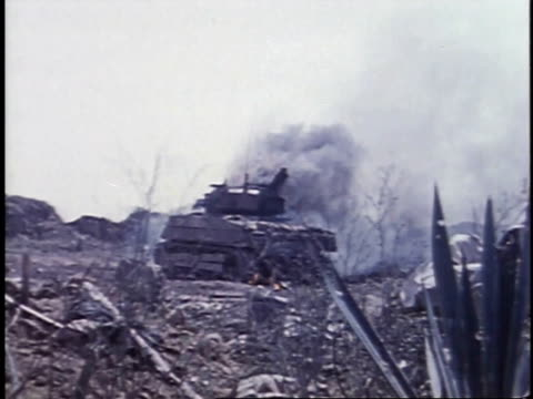 burning tank / iwo jima japan - schlacht um iwojima stock-videos und b-roll-filmmaterial