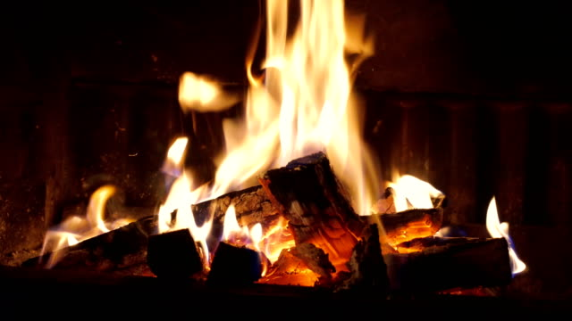 burning wood in the fireplace - log stock videos & royalty-free footage