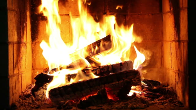 burning wood in the fireplace. - fireplace stock videos and b-roll footage