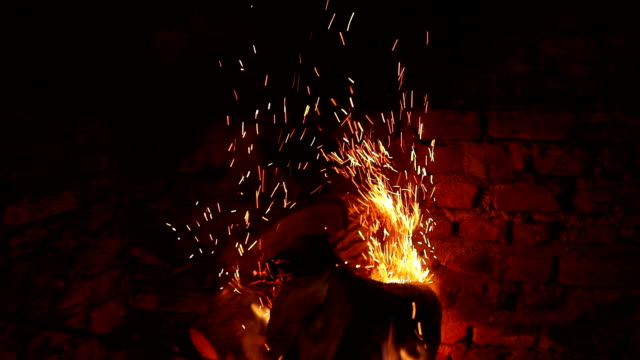 Burning Wood In The Fireplace