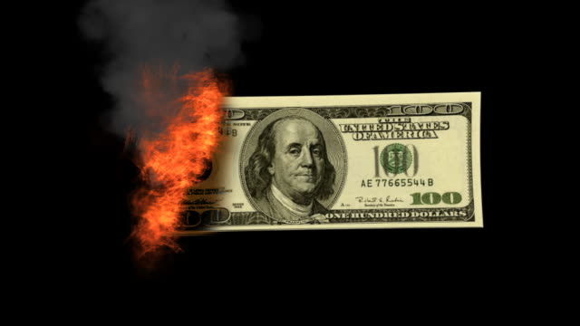 burnning money hdv side - american one hundred dollar bill stock videos & royalty-free footage