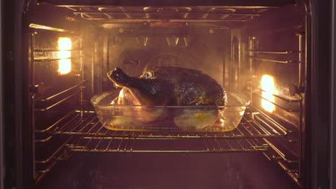 vídeos y material grabado en eventos de stock de pollo quemado en horno con humo - ave de corral