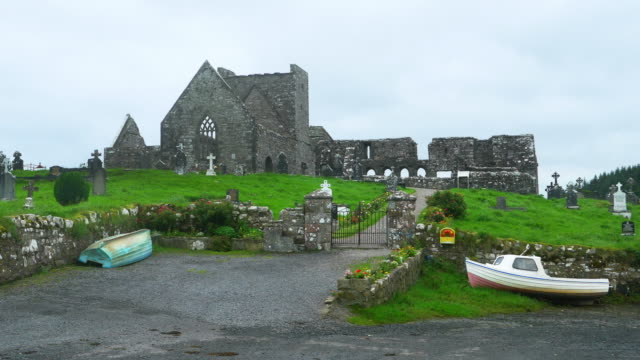 burrishoole friary in county mayo - abbey monastery stock videos & royalty-free footage