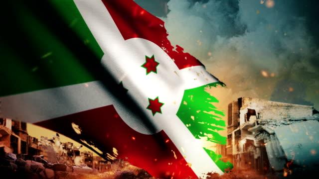 vidéos et rushes de 4k, drapeau du burundi - crise / guerre / fire (boucle) - arme de destruction massive