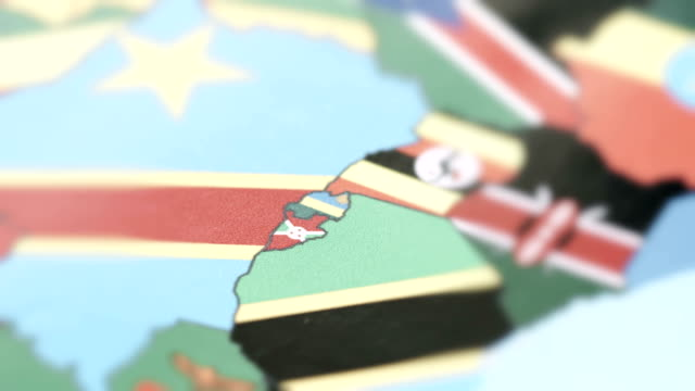 Burundi, Rwanda Borders with National Flag on World Map