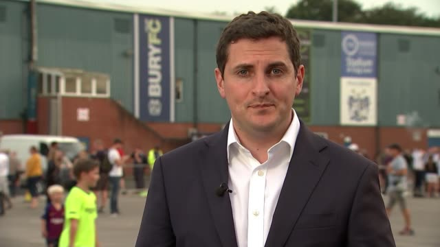 bury fc to be expelled from football league as lastminute deal collapses england greater manchester bury gigg lane reporter to camera susan tunstall... - falling stock videos & royalty-free footage