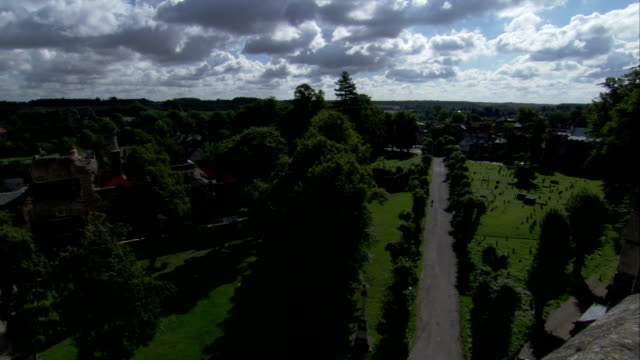 bury st edmunds cathedral features arched windows and an ornate tower. available in hd. - bury st edmunds stock videos & royalty-free footage