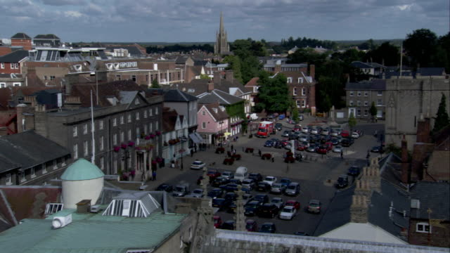bury st edmunds features a busy town square. available in hd. - bury st edmunds stock videos & royalty-free footage