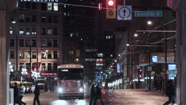 MS Bus comes to an intersection and drives by / Boston, Massachusetts, United States