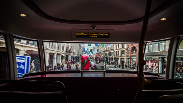 stockvideo's en b-roll-footage met pov: bus rijdt door regent street in londen - bus