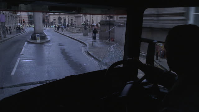 pov bus driver accelerating and swinging the wheel, turning into traffic / london, england, united kingdom - bus driver stock videos & royalty-free footage