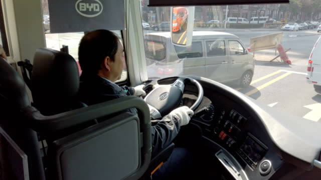 bus driver driving/xi'an,china. - bus driver stock videos & royalty-free footage