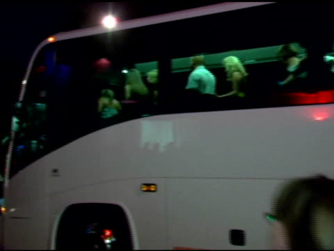 a bus of paris hilton contest winners at the paris hilton album release party at marquee in new york new york on august 16 2006 - marquee nightclub manhattan stock-videos und b-roll-filmmaterial
