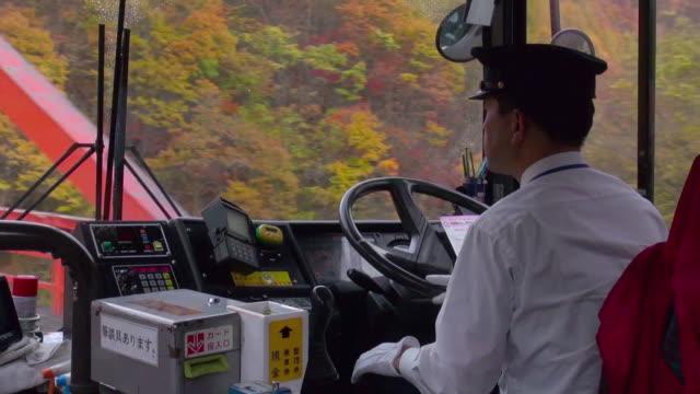 bus ride in the autumn near minakami, gunma, japan - bus driver stock videos & royalty-free footage