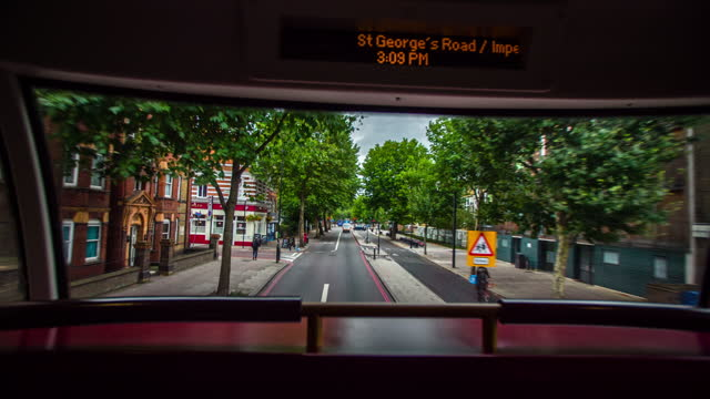 bus ride through london southwark - pov - double decker bus stock videos & royalty-free footage