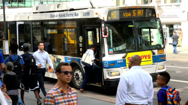 m2 mta bus, rush hour, 5th ave - manhattan, new york city - bushaltestelle stock-videos und b-roll-filmmaterial