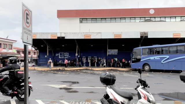 bus station in san jose, costa rica - san jose costa rica stock videos & royalty-free footage