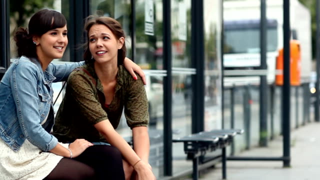 bus stop friends - girlfriend stock videos & royalty-free footage