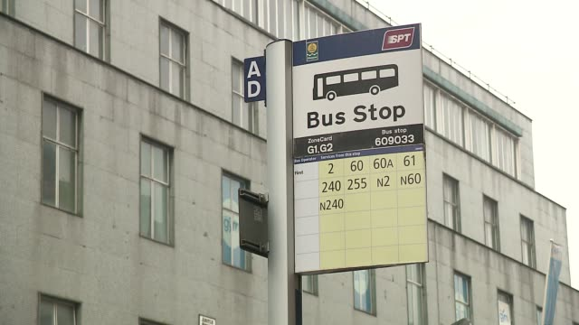 bus stop in glasgow - english language stock videos & royalty-free footage