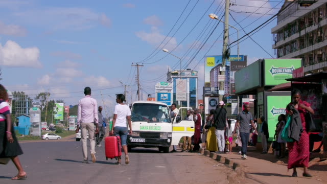 Bus Stop & Traffic Near Adams Mall Nairobi  Kenya  Africa
