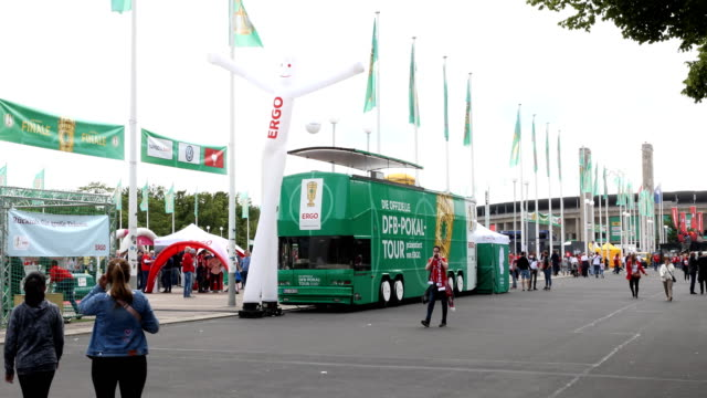 A bus with imprint of the DFB Cup prior the DFB Cup final between RB Leipzig and Bayern Muenchen at Olympiastadion on May 25 2019 in Berlin Germany