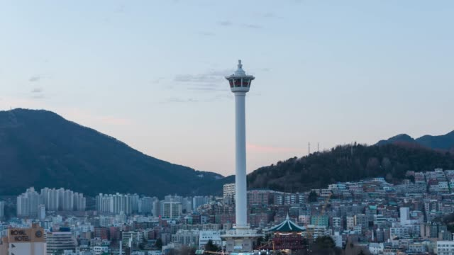 busan tower day to night at south korea - busan stock videos & royalty-free footage