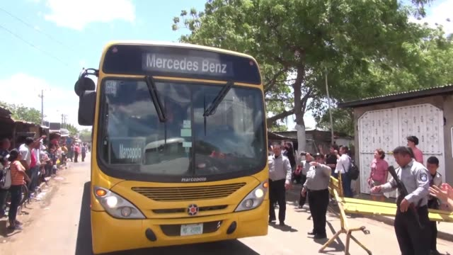 buses exit la modelo maximum security prison outside managua after nicaragua released 50 prisoners held for taking part in anti government protests... - prisoner released stock videos & royalty-free footage