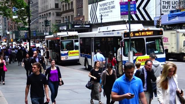 buses, summer morning rush hour traffic, public transportation, mass transit, midtown manhattan, 42nd street, 5th avenue, new york city, usa / m1,... - 42nd street stock videos & royalty-free footage