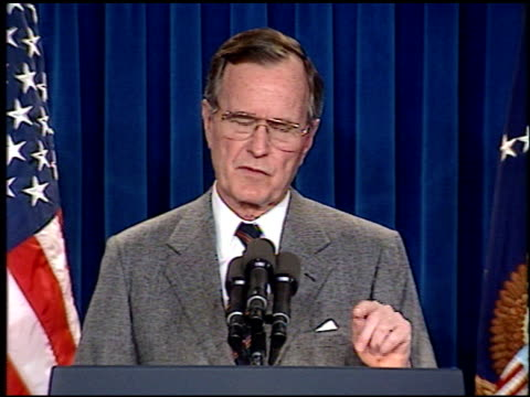 bush press conference on persian gulf conflict on march 01, 1991 in washington, dc - persian gulf stock videos & royalty-free footage