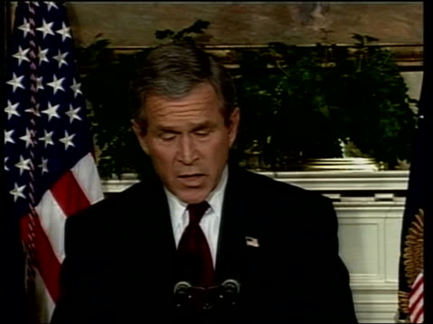 bush warning/further uk forces committed; pool usa: washington: the white house int president george w bush and secretary of state colin powell to... - saddam hussein stock videos & royalty-free footage