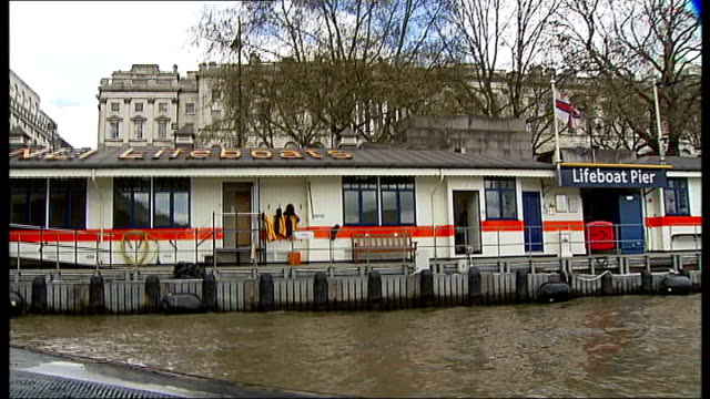 Busiest lifeboat station is in London ENGLAND London EXT Reporter to camera standing next to the River Thames SOT Lifeboat station close to waterloo...