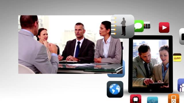 business-animation zeigt tagungs- und app-symbol - montage composite technik stock-videos und b-roll-filmmaterial