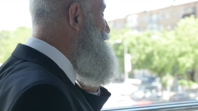 business. bearded businessman talking on the phone - 50 59 years video stock e b–roll