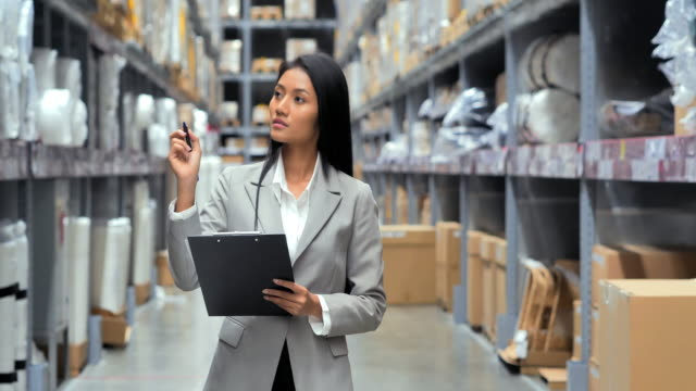 business black women writing on clipboard at warehouse.smart warehouse management system.warehouse,technology,people,transportation,education,women in stem, innovation,leadership concept.warehouse - clipboard stock videos & royalty-free footage