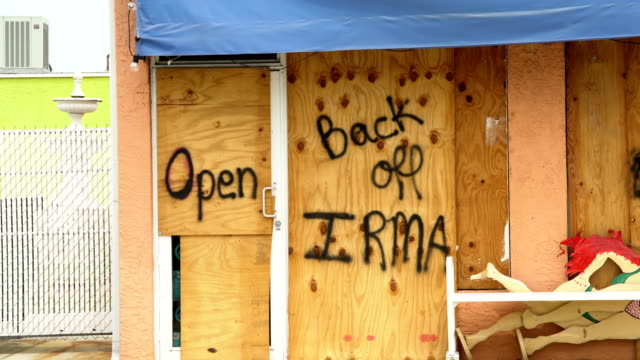business boarded up ahead of hurricane irma in naples, florida - naples florida stock videos & royalty-free footage