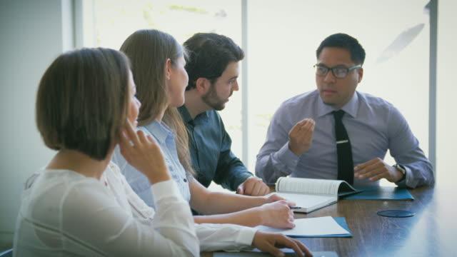 business brainstorming meeting - eyewear stock videos & royalty-free footage