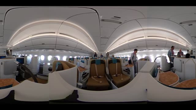 vidéos et rushes de video was created as an equirectangular panorama import video into a panoramic player to create an interactive 360 degree view business class seats... - industrie aérospatiale