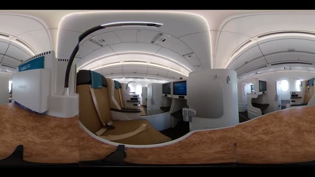 video was created as an equirectangular panorama import video into a panoramic player to create an interactive 360 degree view business class seats... - airbus stock-videos und b-roll-filmmaterial
