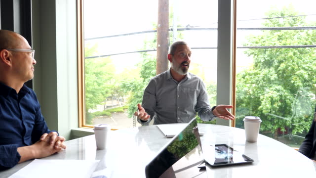 pan business colleagues having project meeting in office conference room - discussion stock videos & royalty-free footage