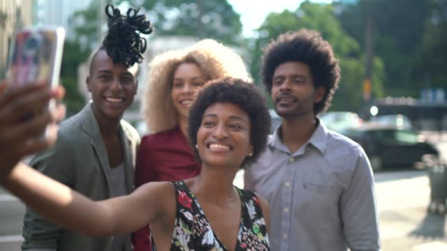 business colleagues taking a selfie outdoors - locs hairstyle stock videos & royalty-free footage