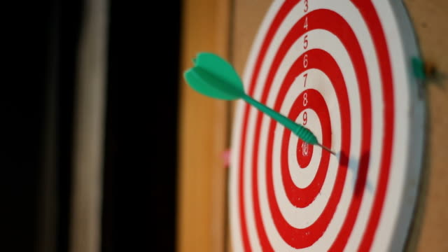 business concept. darts arrows in the target center - sports target stock videos and b-roll footage