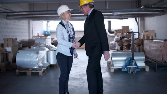 Business couple shaking hands
