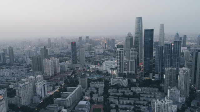 business district aerial view - liyao xie stock videos & royalty-free footage