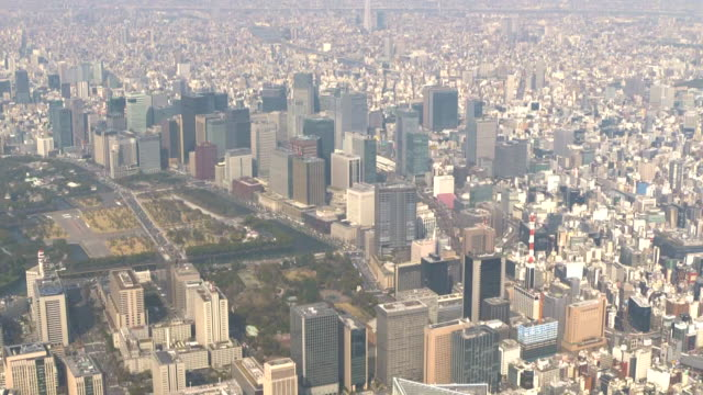 aerial, business district around chiyoda ward, tokyo, japan - tokyo midtown stock videos & royalty-free footage