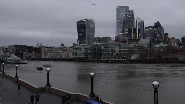business district at waterfront in city of london on first working day after u.k. left eu, in london, england, u.k., on monday, january 4, 2021. - waterfront stock videos & royalty-free footage