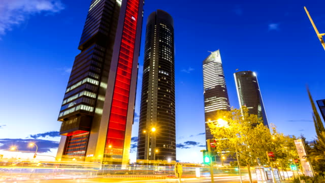Business district in Madrid, Time Lapse