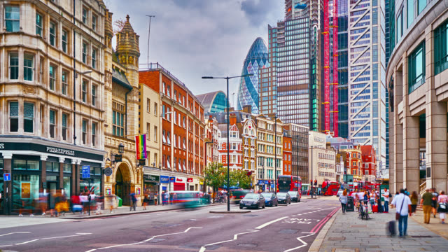 business district. london. night. time lapse. people. traffic. concept. - traffic time lapse stock videos & royalty-free footage