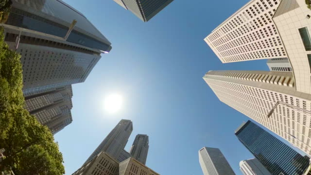 business district skyscrapers - look up at the sky - low angle view stock videos & royalty-free footage